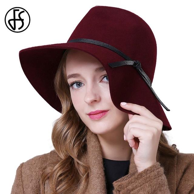 FS Aba Larga Do Vintage 100% Lã Chapéu Fedora Preto Jujuba Vermelho Para  Mulheres Chapéus 9ef747bd4b2