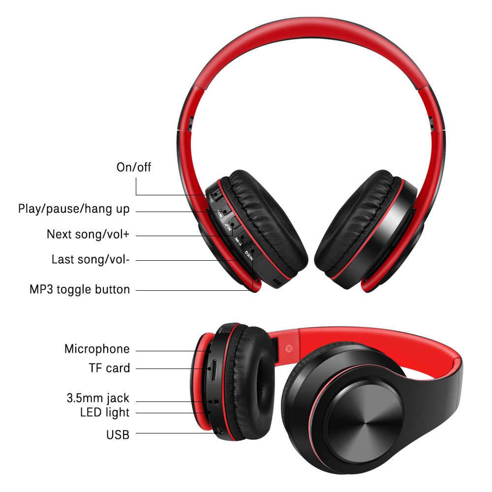 dadbdbc34d8 ... SAZ auricular Bluetooth auriculares bajos deporte auriculares soporte  TF AUX con micrófono para PC teléfono móvil