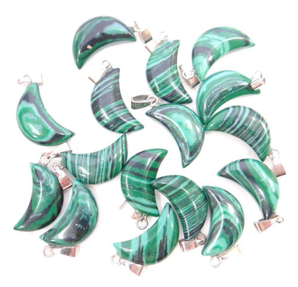 Pietra naturale Cristallo Di Quarzo occhio di tigre Opal Pendenti e Ciondoli Luna Pendenti con gemme e perle Turchesi Per Il fai da te Monili Che Fanno La collana Accessories12pcs