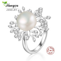 Hongye New Design Snowflake Genuine Natural Freshwater White Pearl 100 925 Sterling Silver Unique Rings Wedding