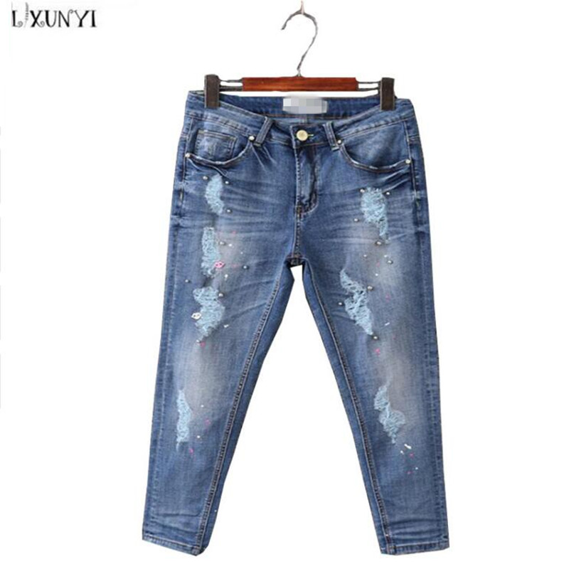 ФОТО 30-42 Women Ripped jeans Plus Sizes High Waist Slim Hip Ankle-length Pants Beading jeans Thin Casual Hole Denim Trousers Pencil