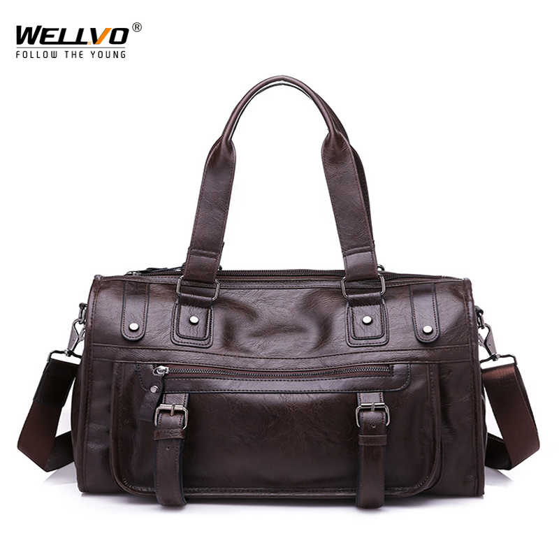 Wellvo Men PU Leather Business Duffle Handbag For Male Fashion Round Bucket Travel Handle Bag Shoulder Casual Tote Solid XA193WC
