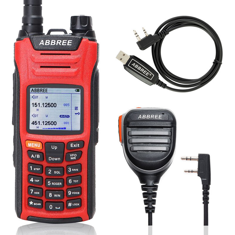 ABBREE AR F6 Walkie Talkie six 6 Bands police band LCD Color Display 125 560MHz Dual