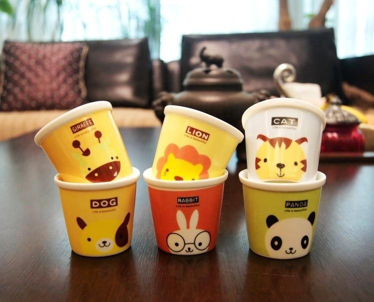 4 pcs lot not paper cup cartoon animal design mini small ceramic