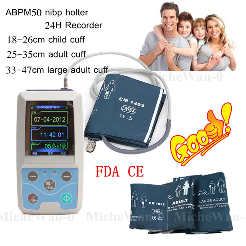 CONTEC ABPM50 Ambulatory Blood Pressure Monitor, NIBP Holter, 3 cuffs+software abpm50 holter 24 hours ambulatory blood pressure monitor holter digital household health monitor with software usb cable neonatl
