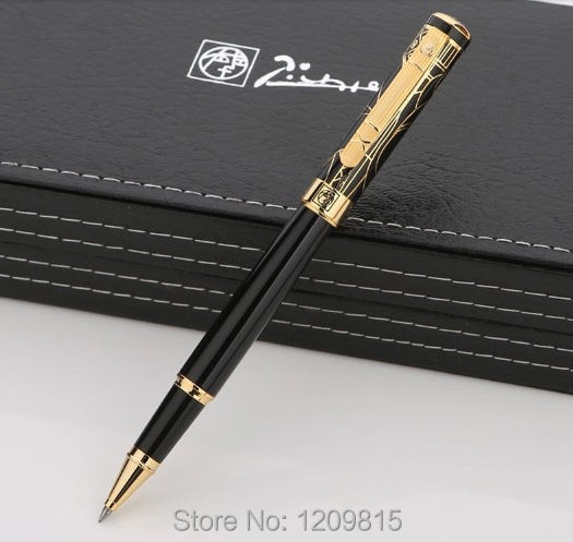 High quality Picasso brand black roller ball pen with Carving cap school office stationery Luxury writing Cute gift ball pens high quality jinhao x450 cloud of ash bright roller ball pen school office stationery brand birthday gift writing gel pen pens