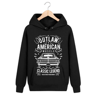 Bloodhoof Outlaw American Muscle Locomotive Printing Black Cotton Pullover Men Hip Hop Unisex Tops Hoodie Asia Size