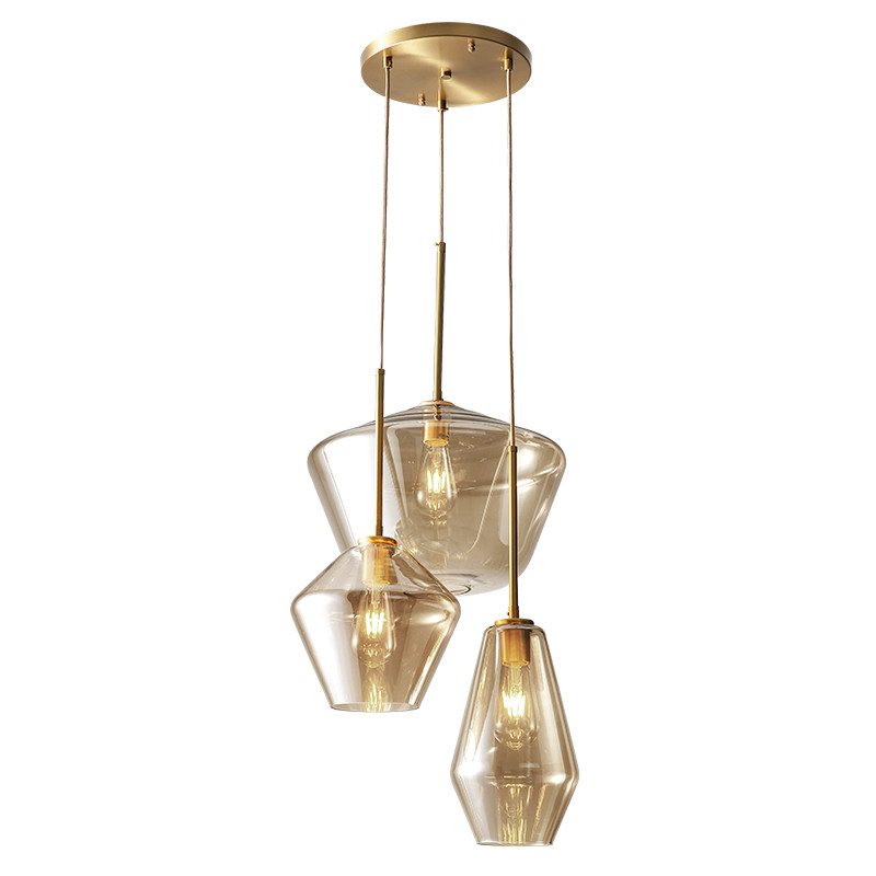 Nordic post modern LED glass pendant lights full copper foyer dining room study bedroom droplight clear and champagne glass square corners hanging antique copper 2 candelabra sockets clear glass