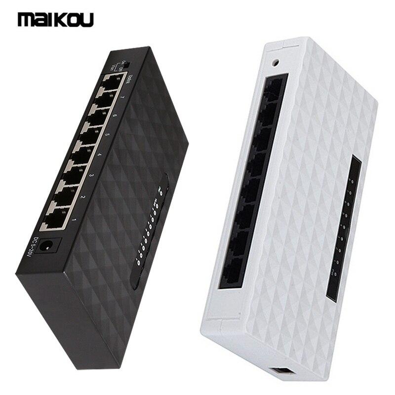 Maikou High Speed 8 Port Network Gigabit Switch 10/100/1000Mbps Fast Ethernet Switcher Lan Hub Full/Half Duplex Exchange EU Plug