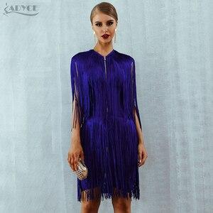 Image 2 - Adyce 2020 חדש קיץ פרינג תחבושת שמלת נשים סקסי O צוואר שרוולים גדילים מיני טנק שמלה אלגנטית מועדון מסיבת שמלה vestido