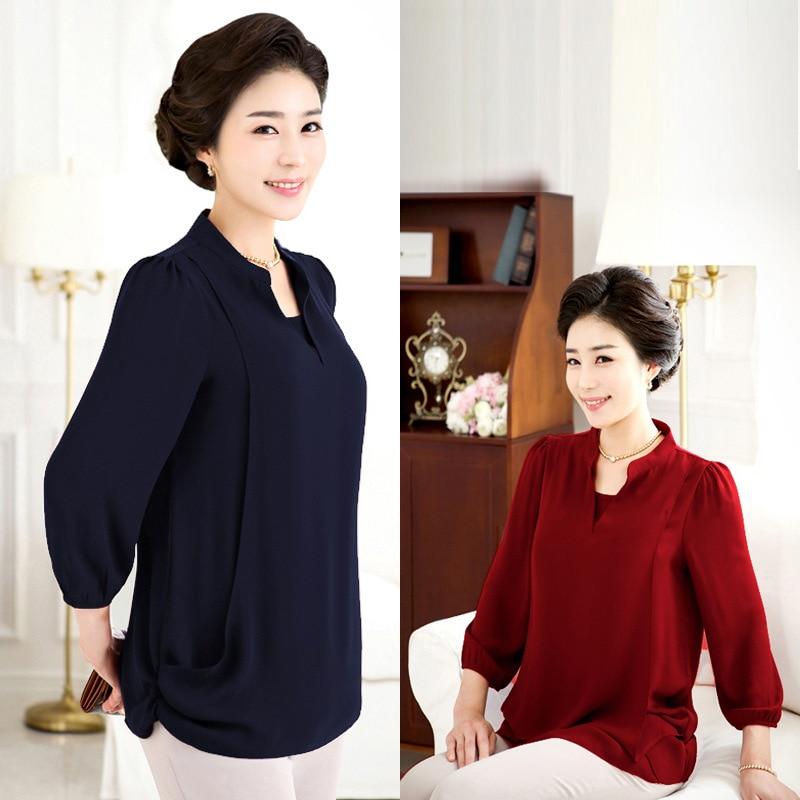 Hot Brand Middle Aged Women Tops Plus Size Extra Large Yards Ladies Chiffon Shirts Women Chiffon