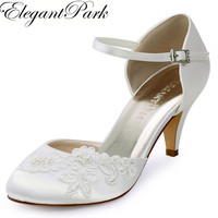 Shoes Woman HC1604 Ivory Mid Heel Mary Jane Satin Appliques Closed Toe Bride Lady Wedding Bridal