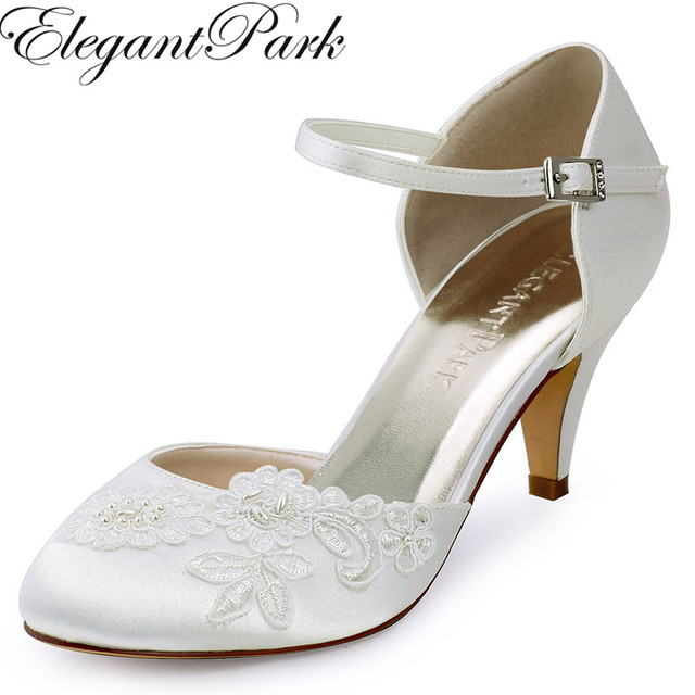 HC1604 Ivory Woman Mid Heel Wedding Shoes Appliques Closed Toe Buckle Satin  Bride Lady Bridal Evening
