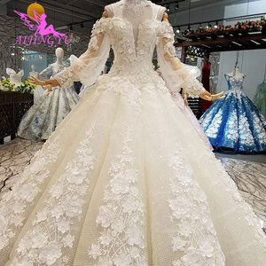 Image 5 - AIJINGYU וגאס חתונות אפור שמלות מוסלמי 2 ב 1 לבן פורמלי ערבית Dreess בציר תחרה