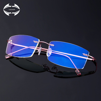 VCKA Rimless Computer Glasses Men Anti-blue light Glasses Women Gaming Eyeglasses Metal Frame Anti UV Optical Fold Eyewear