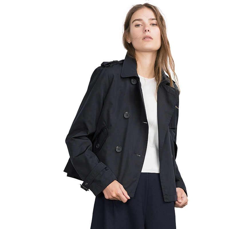 HDY Haoduoyi jesień krótki dwurzędowe płaszcze styl angielski kobiety płaszcze moda basic kurtka znosić płaszcze damskie