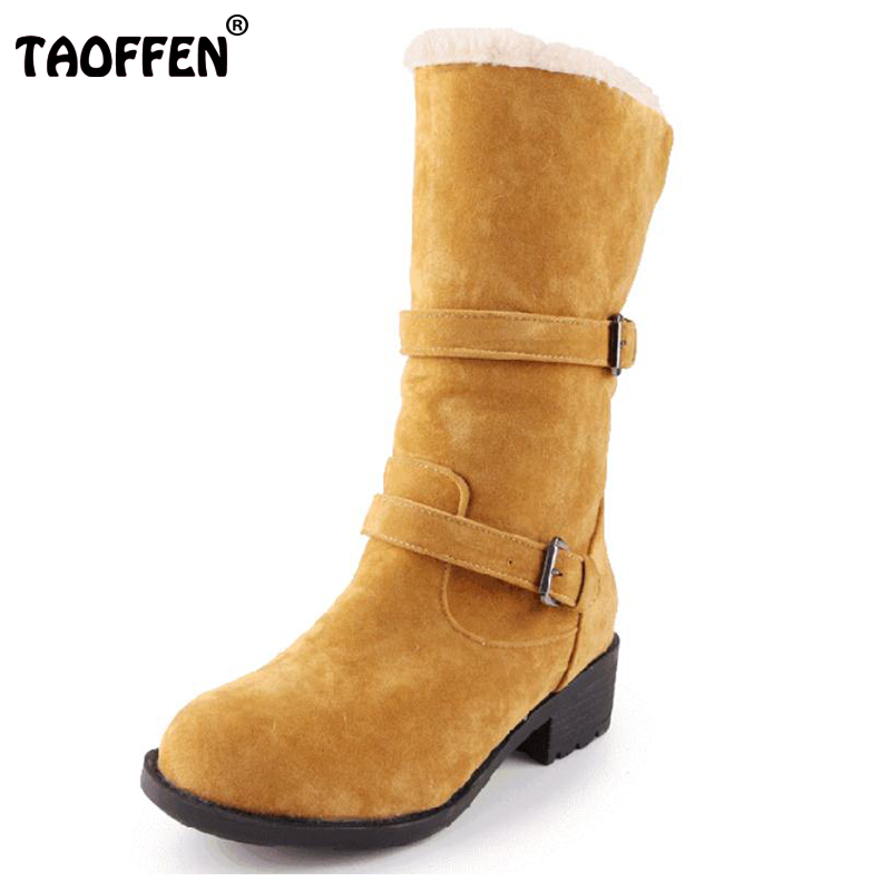 TAOFFEN ladies falt ankle boots women vintage snow half short botas warm winter boot cotton footwear shoes P20415 size 34-43 nemaonesize 34 43 women flat half short ankle boots winter snow boot cotton quality fashion buckle footwear warm botas shoes
