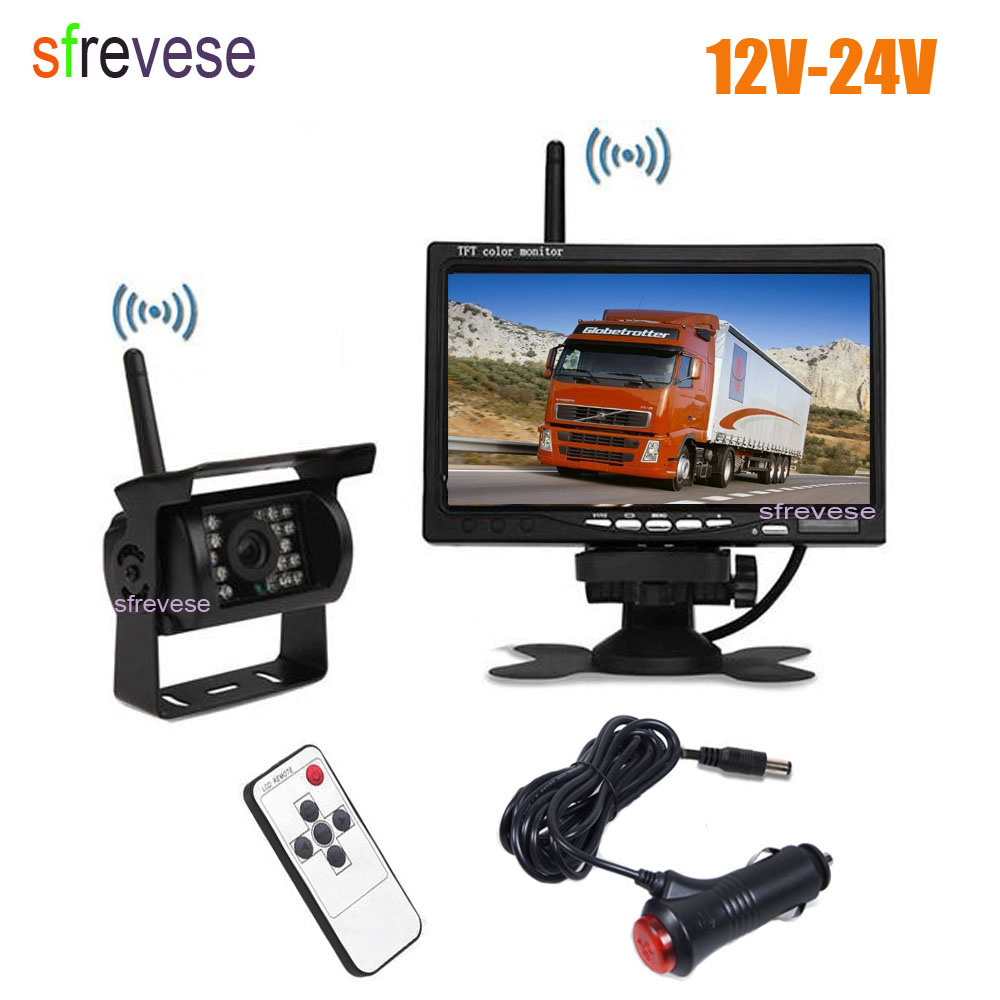 все цены на Wireless Car Vehicle Rear View Kit 18 IR LED Reversing Backup Parking Camera + 7 inch LCD Monitor For Bus Truck with Car Charger