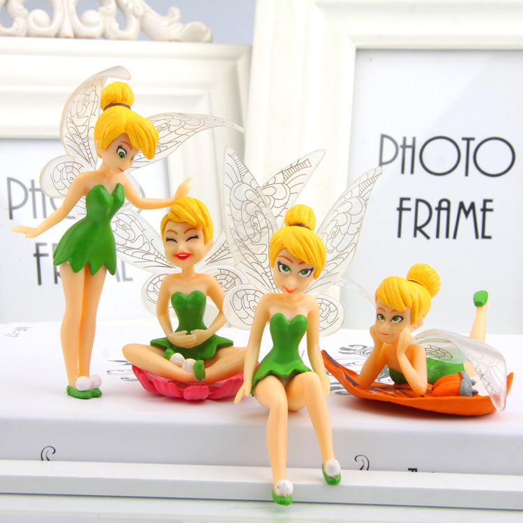 8cm 4pcs/set Princess Tinker Bell <font><b>creative</b></font> DIY <font><b>Micro</b></font> <font><b>Landscape</b></font> mini Desktop decoration for home garden <font><b>toys</b></font> for boy girls