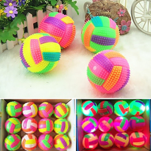Colorful Changing Bouncing Hedgehog Ball Kids Toys 6.5cm LED BiBi Sound Volleyball Flashing Light Up For Baby