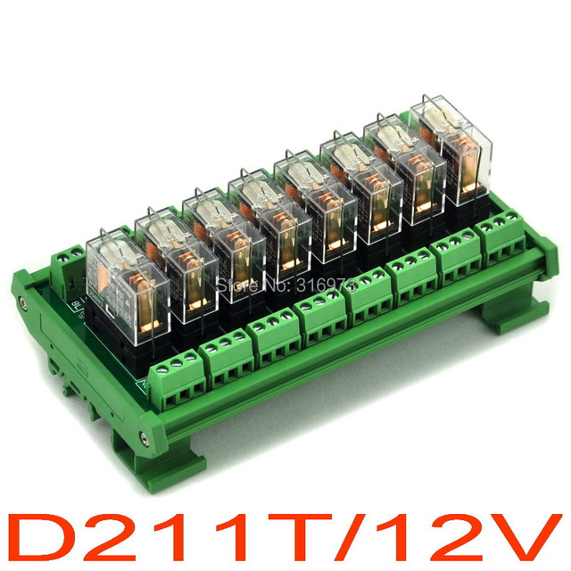 DIN Рейку 8 16A SPDT Силовых Реле Интерфейсный Модуль, OMRON G2R-1-E Реле DC12V
