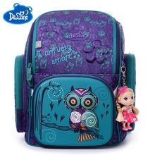 Delune Russian Kids 6-9 years Waterproof Orthopedic Backpack Cartoon Bear Owl Ergonomic Design Schoolbag Girls Boys School Bags цены онлайн