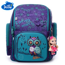 Delune Russian Kids 6-9 years Waterproof Orthopedic Backpack Cartoon Bear Owl Ergonomic Design Schoolbag Girls Boys School Bags