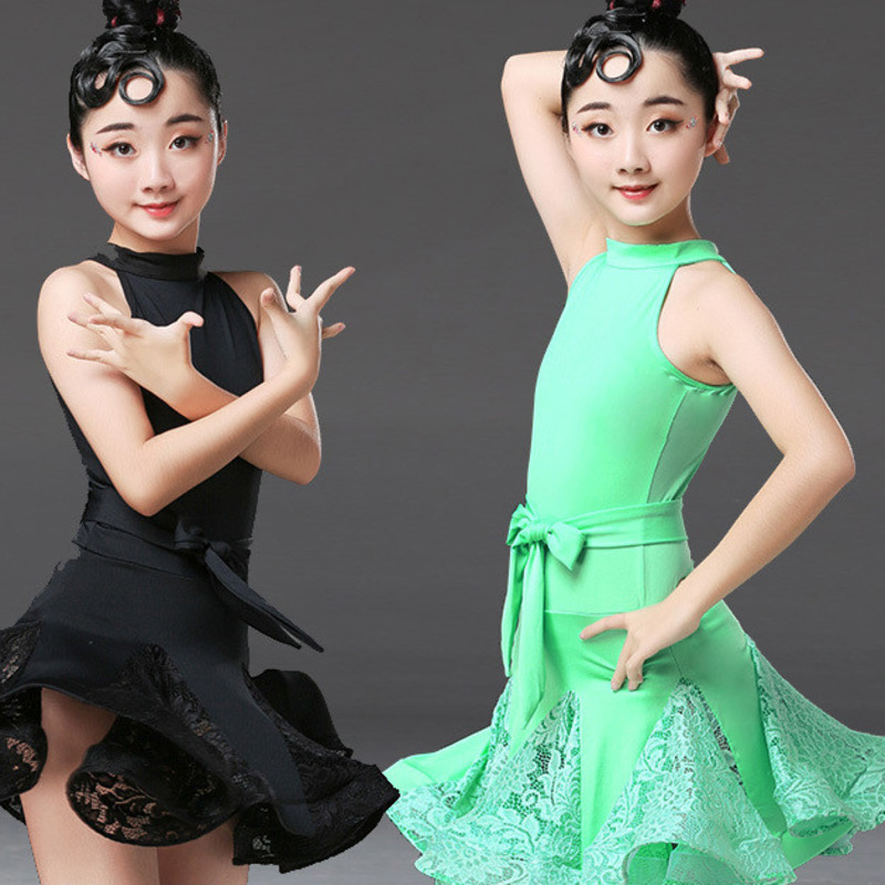 lace ballroom latin practice wear modern dance dress girl competition for children kid skirt salsa tango samba dancewear cha cha