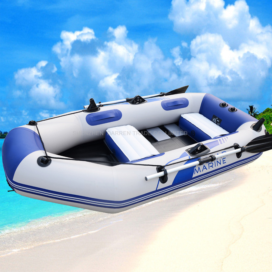 Bateau de Pêche gonflable de 3 adultes + 1 enfant épaisseur 0.7mm bateau à rames pour la dérive sufing poids 300 kg avec Rames