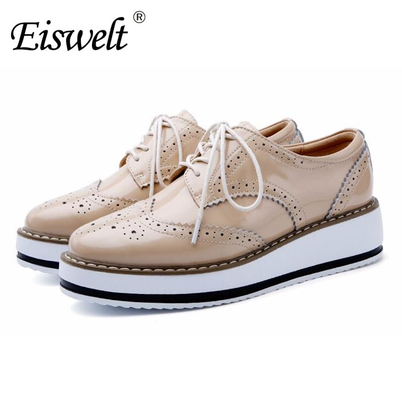 Eiswelt Women Platform Oxfords Brogue Flats Shoes Patent Leather Pointed Toe Brand Footwear Shoes For Women Creepers#DZW80 qmn women genuine leather platform flats women cow leather oxfords retro square toe brogue shoes woman leather flats creepers