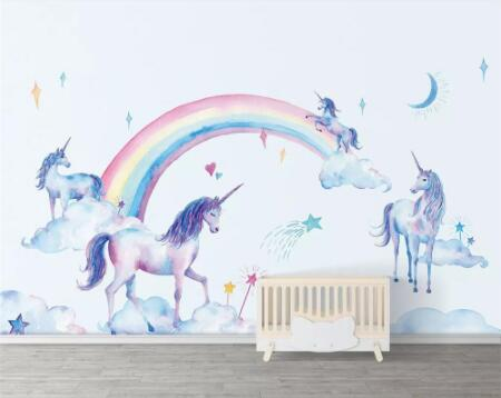 Mural Fresh Watercolor Hand-painted Tianma Rainbow Unicorn Children Background Wall Home Decoration Mural 3d Wallpaper