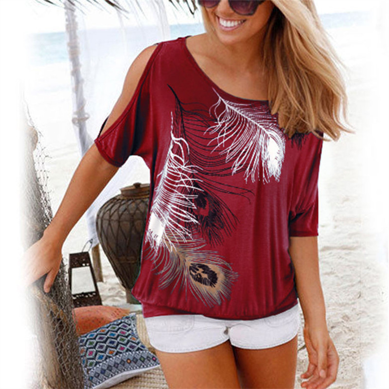 Women Summer 2019 Tshirt Casual Short Sleeve Tops Tees Sexy Off Shoulder Feather Print T Shirt