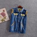 2016 Spring Patchwork Denim women's vest Girls Epaulet Zipper Plus Size Vests Female Sleeveless Waistcoat Tops Women Clothing