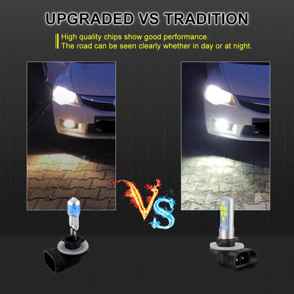 2pcs Car Fog Lamp H1 H3 H7 H8 H11 H16 LED HB3 9005 HB4 9006 P13W PSX26W PSX24W LED Bulbs H27 800 881 P27/7W Auto Lights 12V
