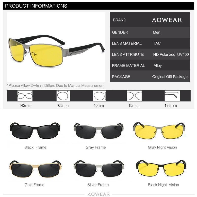 AOWEAR Hd очки для вождения с ночным видением, желтые солнцезащитные очки, мужские поляризованные очки для ночного вождения, очки для вождения, снижают ослепление