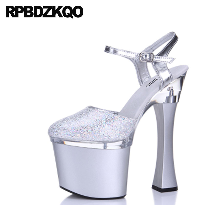 03803116e5a2 Round Toe Slingback Silver Platform Women Shoes Crossdresser High Heels 12  44 Pumps Chunky Prom Summer