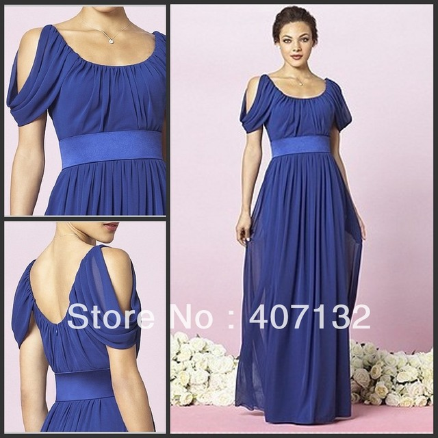 Simple Design Chiffon Short Sleeves 2015 Bridesmaid Dress Royal Blue ...