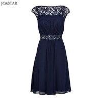 JC & STAR Custom made suknie druhna Proste z halter zroszony granatowy koronka skrzydła wedding party suknie vestido de casamento