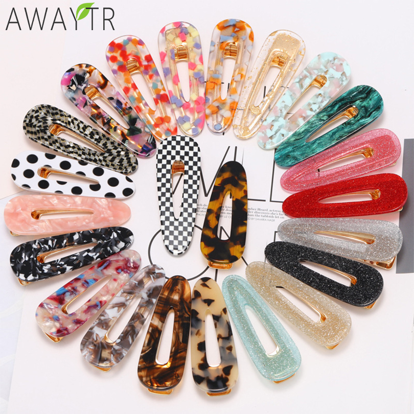AWAYTR Snap Hair Clips Hair Clips Pins BB Hairpins Color Metal Barrettes For Adult Children Women Girls Styling Hair Accessories