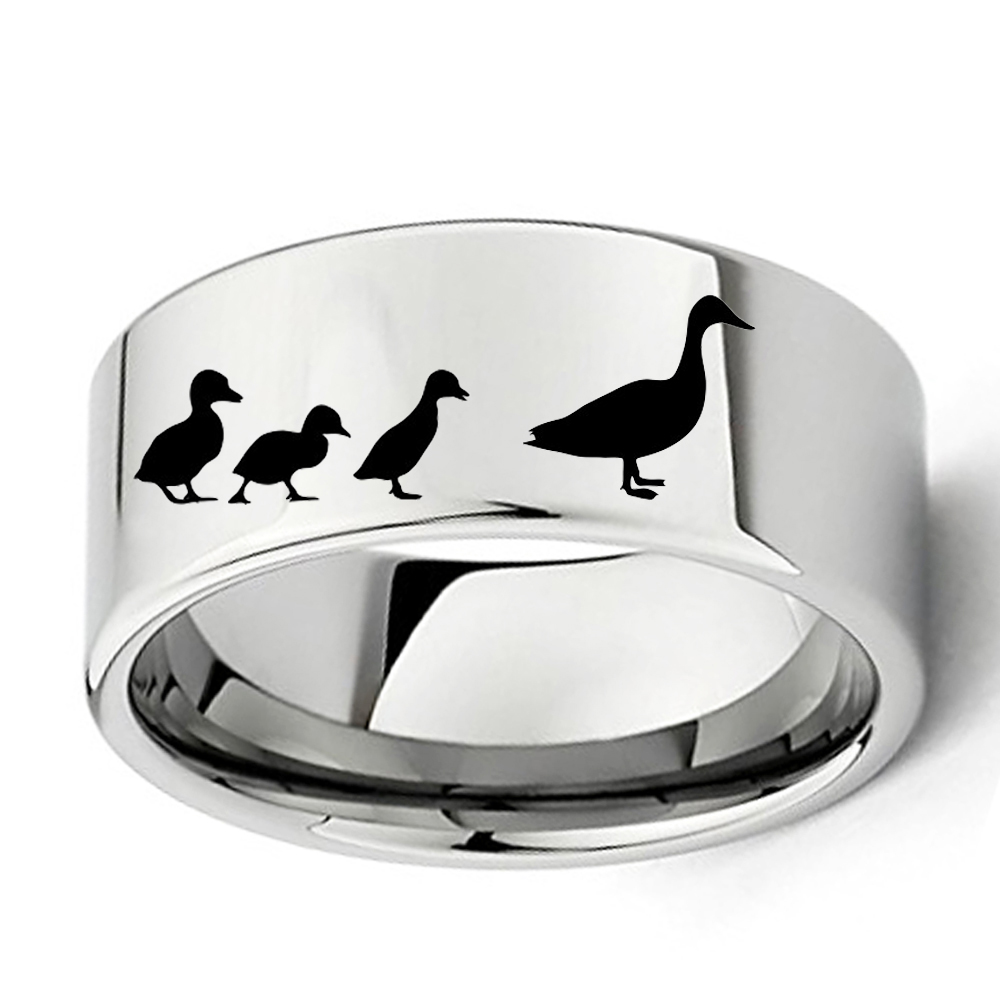 Dropshipping Engraved Duck & Ducklings Ring 11mm Men Boy Flat Polish  Tungsten Outdoors Wedding Band Size