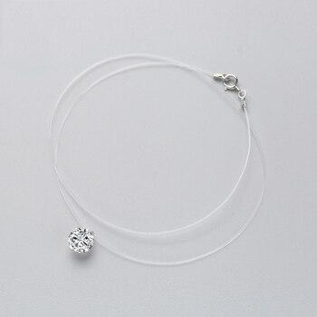 إنزات 925 فضة الزركون كريستال بيرل قلادة المختنق قلادة شفافة خط الصيد 2019 الأزياء والمجوهرات للنساء 1