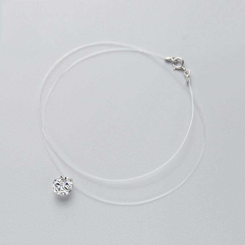 INZATT 925 Sterling Silver Zircon Crystal Pearl Pendant Choker Necklace Transparent Fishing Line 2019 Fashion Jewelry