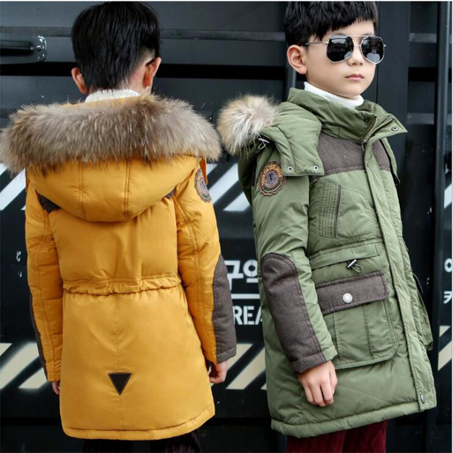 High Quality Boys Thick Down Jacket 2016 New Winter New Children Long Sections Warm Coat Clothing Boys Hooded Down Outerwear