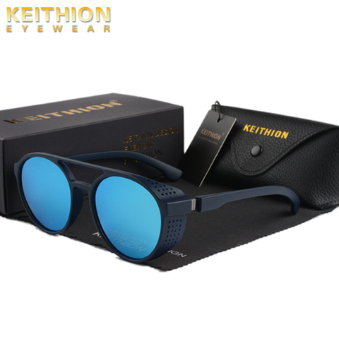 KEITHION Retro Round Polarized Sunglasses Steampunk Men Women Brand Designer Glasses Oculos De Sol Shades UV Protection Islamabad