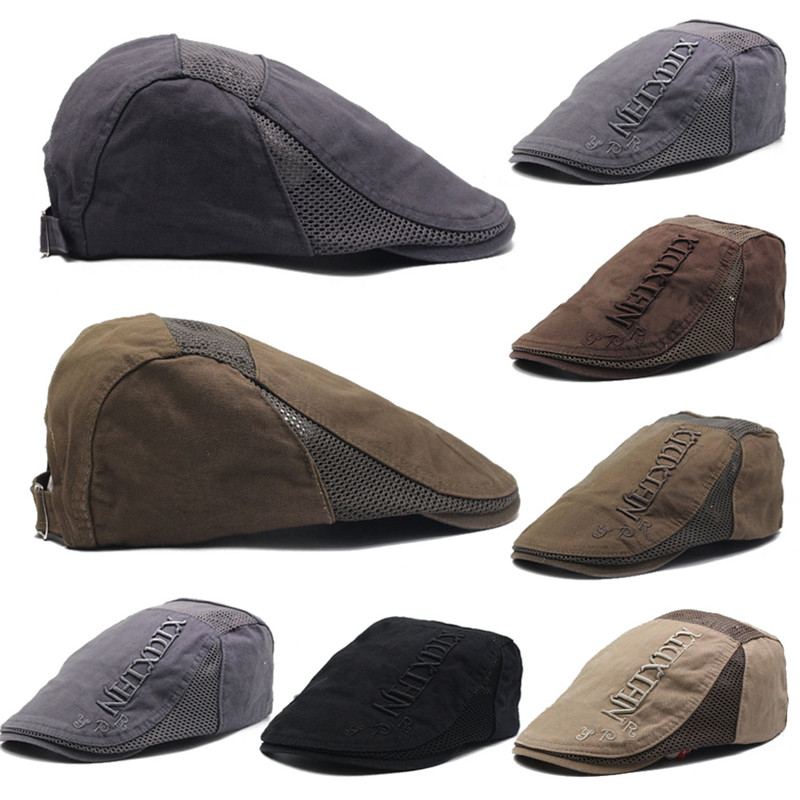 hirigin new Mens Newsboy Ivy Gatsby Adjustable Flat Caps Hat Peak Cabbie casual adult Berets Driver Hat