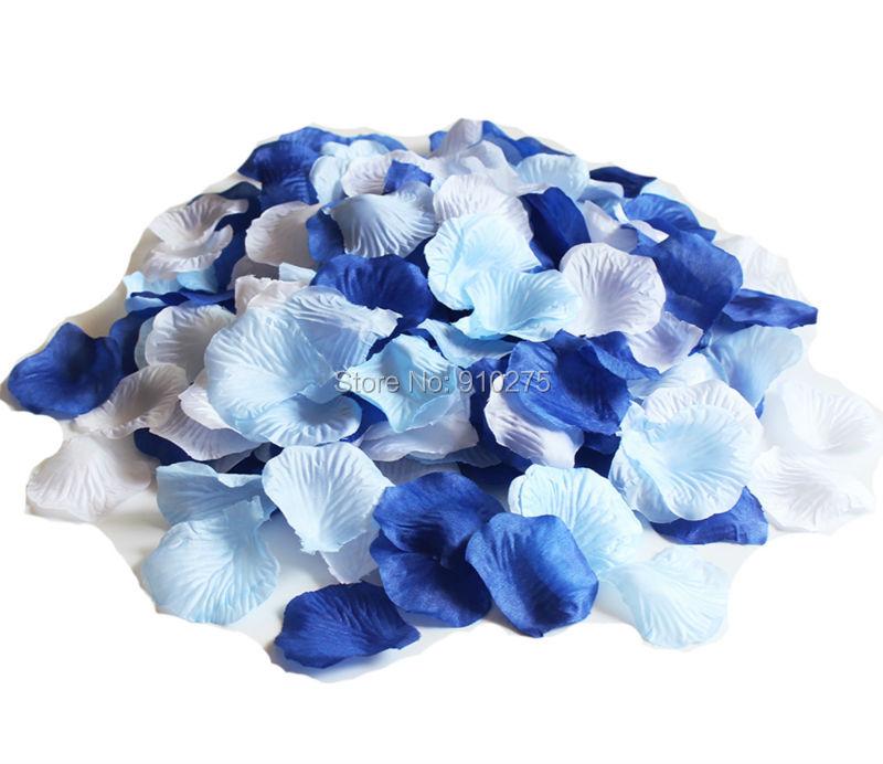 Light Blue Flowers For Weddings: 1000pcs Mixed Royal Blue Light Blue White Silk Rose Petals