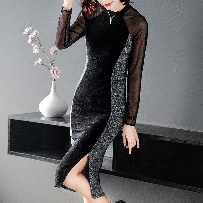 Haute qualité nouveau 2019 printemps mode fête Sexy robes femmes pure maille Patchwork à manches longues Midi crayon robe nuit Clubwear