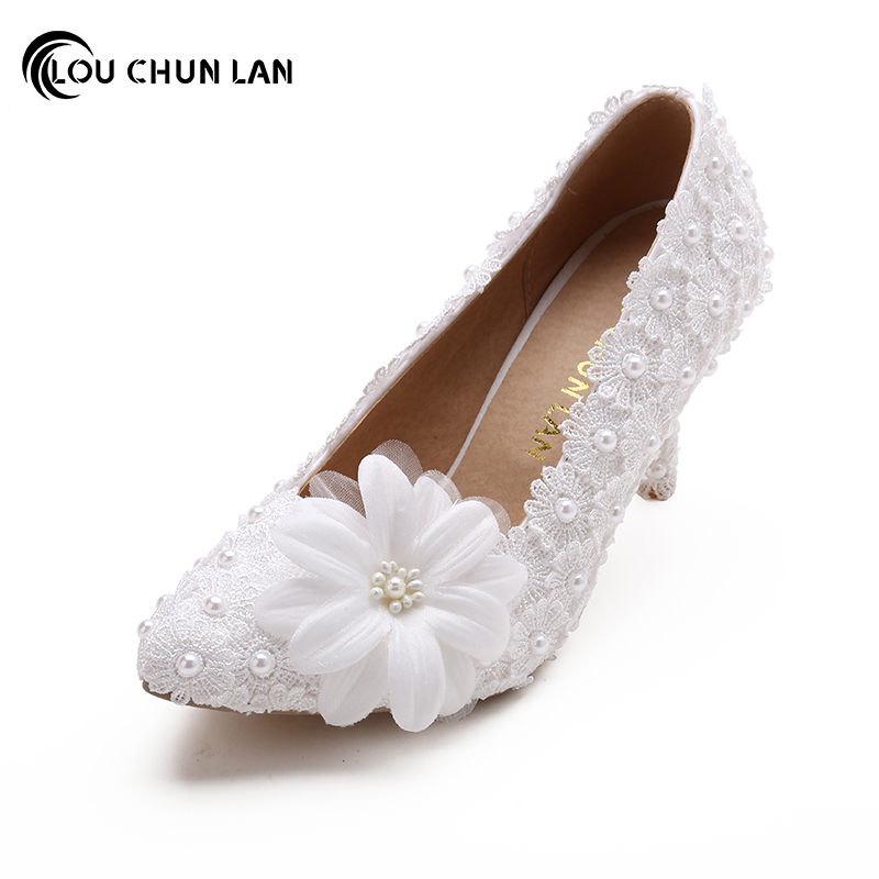 Shoes Women's Shoes Pumps Wedding Shoes Elegant White lace flower Bridal Shoes Pointed Toe High Heels large size 40-53