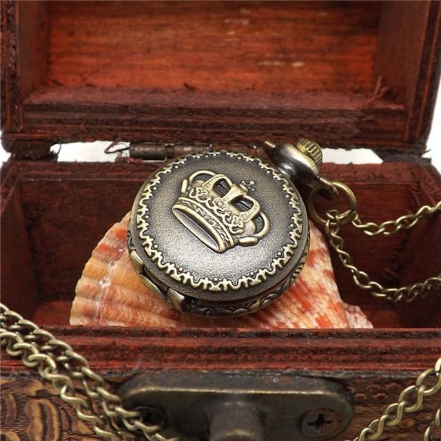 Hot Fashion Vintage Retro Bronze Quartz Pocket Watch Pendant Chain Necklace Relo