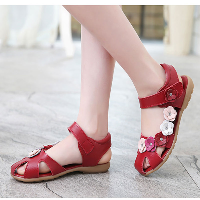 e8f9386cbdab New Summer Genuine Leather Sandals Baby Shoes Children Leather Shoes  Sandalias Nina For Girls Diamond Flower Decoration Princess